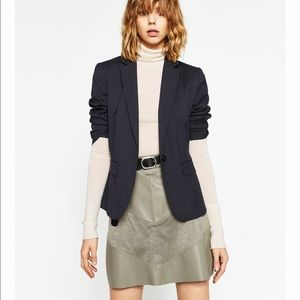 Zara NWT Olive Faux Suede/ Leather Mini Skirt